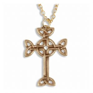 Celtic Knot Cross Bronze Pendant